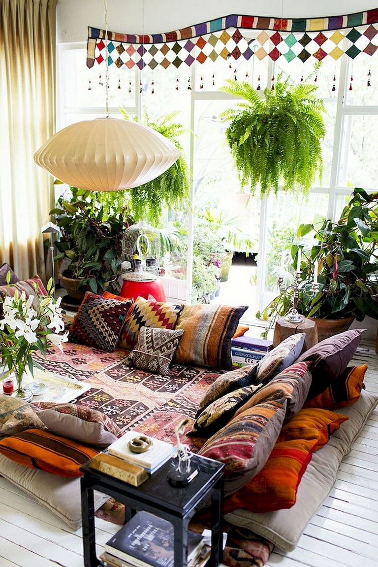 46 gorgeous urban bohemian living room ideas for Urban boho style living room