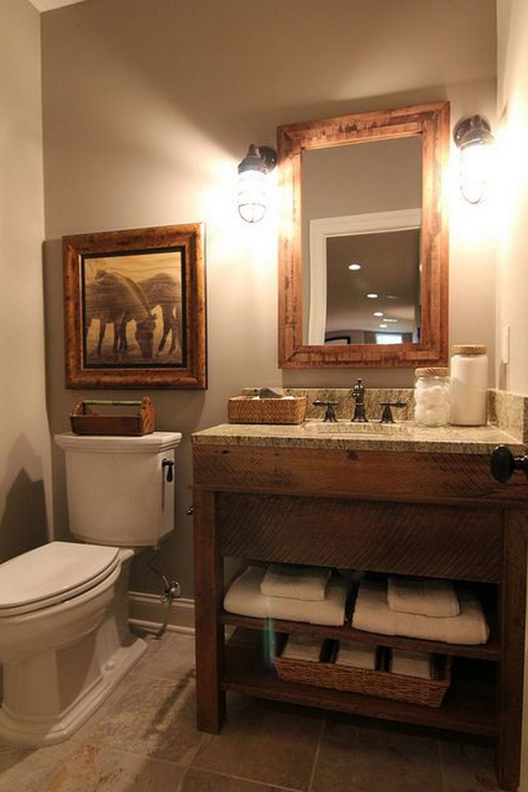 41 the top rustic small bathroom ideas with wooden decor